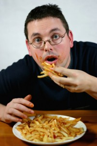 man-overeating